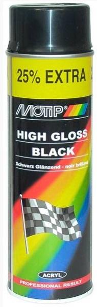 Spuitverf zwart 500ml, Motip, auto zwart glans acryl